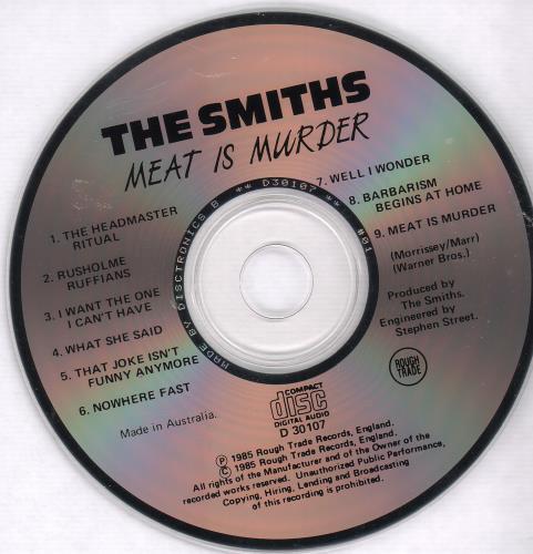 The Smiths Meat Is Murder CD album (CDLP) Australian SMICDME671005
