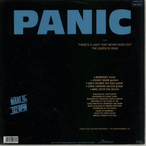 "The Smiths Panic - Blue Vinyl - Sealed 12"" vinyl single (12 inch record / Maxi-single) German SMI12PA622612"