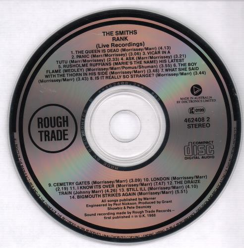 The Smiths Rank CD album (CDLP) Australian SMICDRA671030