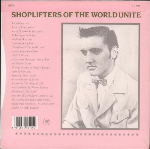 """The Smiths Shoplifters Of The World Unite - 4 Prong 7"""" vinyl single (7 inch record) UK SMI07SH09869"""