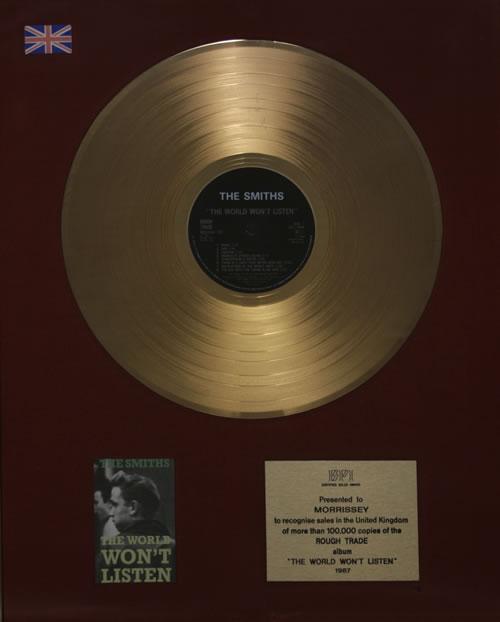 The Smiths The World Won't Listen award disc UK SMIAWTH570260