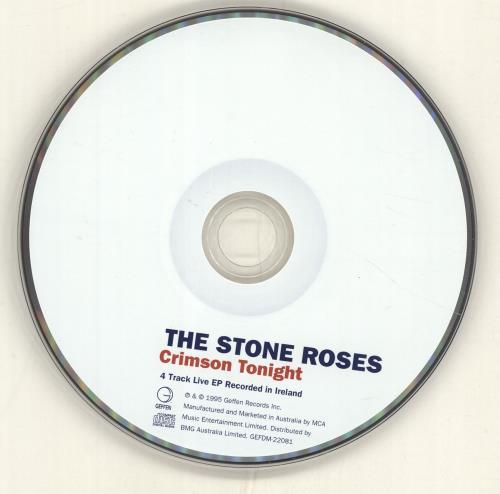 "The Stone Roses Crimson Tonight CD single (CD5 / 5"") Australian STOC5CR57000"
