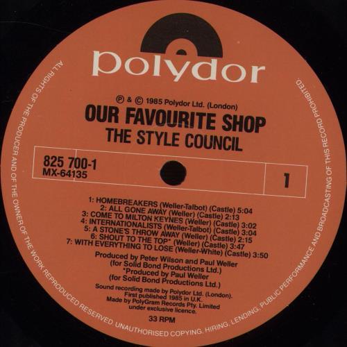 The Style Council Our Favourite Shop Australian vinyl LP