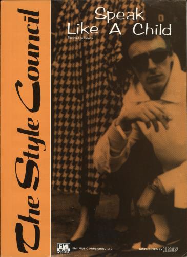 The Style Council Speak Like A Child sheet music UK STYSMSP720444