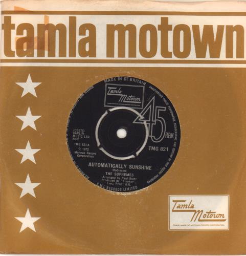"The Supremes Automatically Sunshine - 4prong 7"" vinyl single (7 inch record) UK SPM07AU581485"