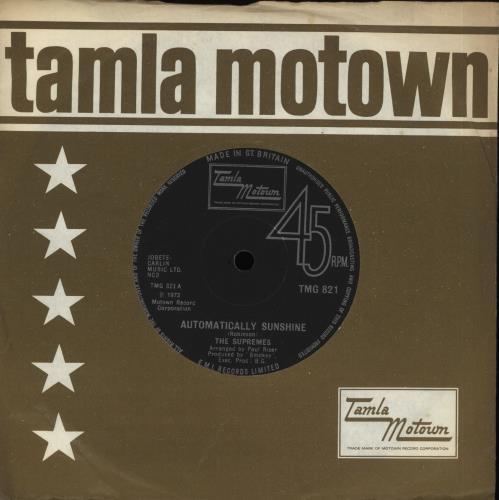 "The Supremes Automatically Sunshine 7"" vinyl single (7 inch record) UK SPM07AU566432"