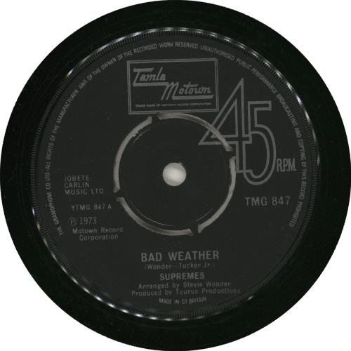 "The Supremes Bad Weather 7"" vinyl single (7 inch record) UK SPM07BA459375"