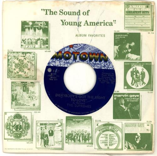"The Supremes Everybody's Got The Right To Love 7"" vinyl single (7 inch record) US SPM07EV705336"