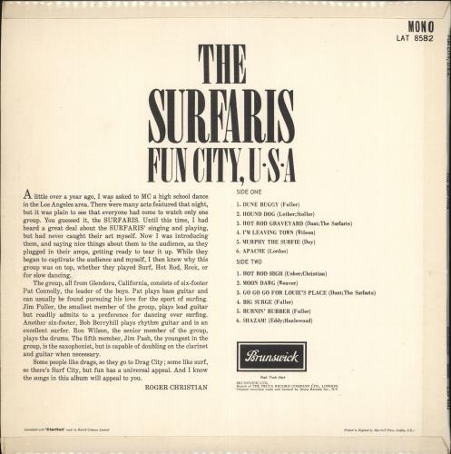 The Surfaris Fun City, U.S.A. vinyl LP album (LP record) UK SRFLPFU723058