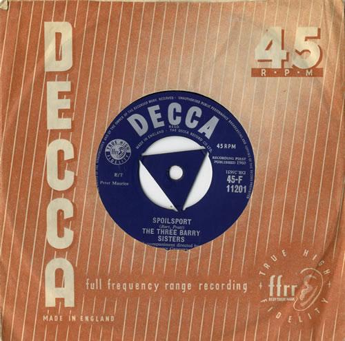 "The Three Barry Sisters Spoilsport 7"" vinyl single (7 inch record) UK VHV07SP558557"