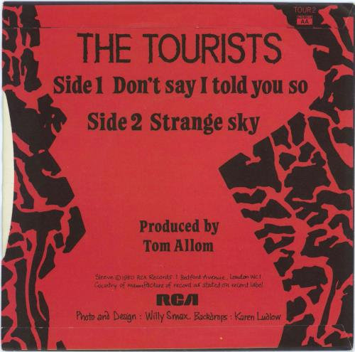 """The Tourists Don't Say I Told You So - Autographed 7"""" vinyl single (7 inch record) UK TOU07DO771638"""