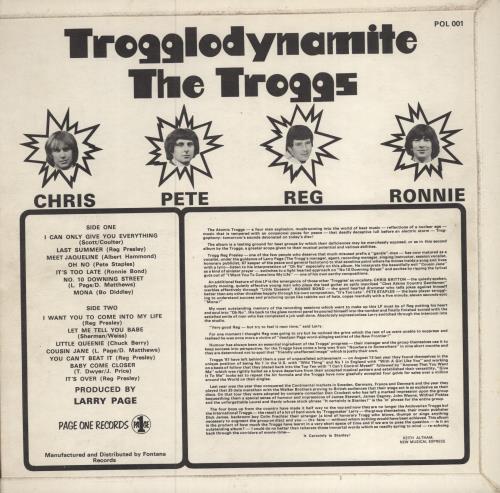 The Troggs Trogglodynamite vinyl LP album (LP record) UK TRGLPTR568775