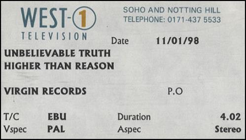 The Unbelievable Truth Higher Than Reason video (VHS or PAL or NTSC) UK UBTVIHI108454