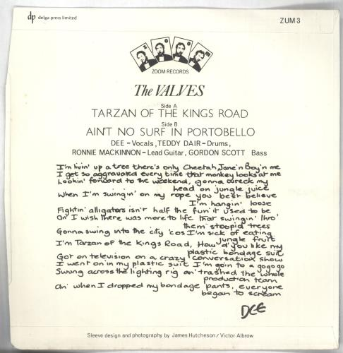"The Valves Tarzan Of The Kings Road 7"" vinyl single (7 inch record) UK VVS07TA449107"
