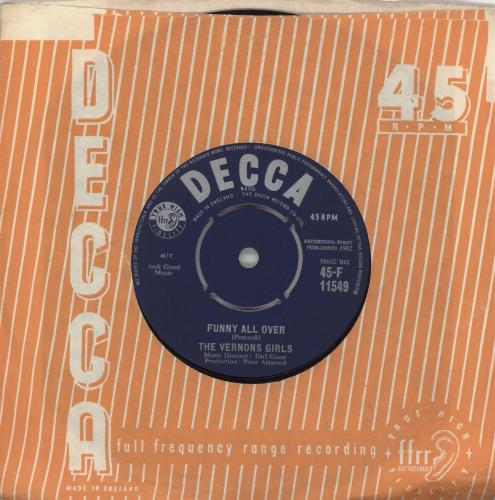 """The Vernons Girls Funny All Over 7"""" vinyl single (7 inch record) UK VRG07FU719148"""