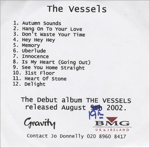 The Vessels The Vessels CD-R acetate UK V/ECRTH264594