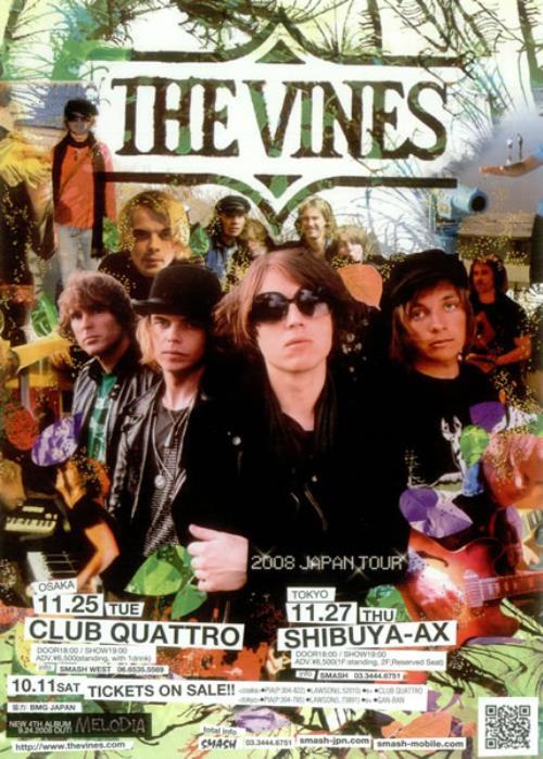 The Vines 2008 Japan Tour handbill Japanese VNEHBJA455684