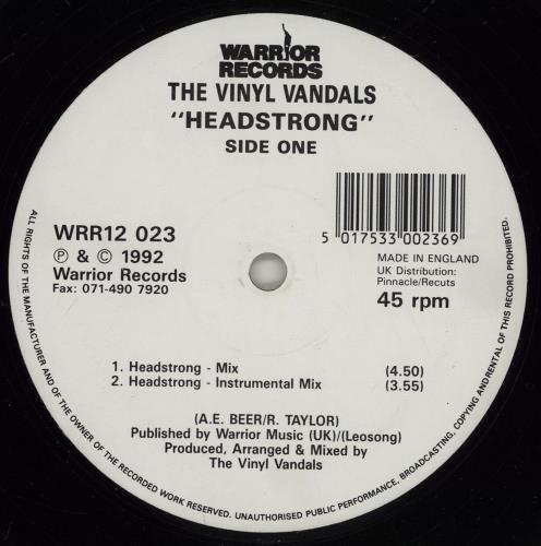 "The Vinyl Vandals Headstrong 12"" vinyl single (12 inch record / Maxi-single) UK 2HJ12HE758287"