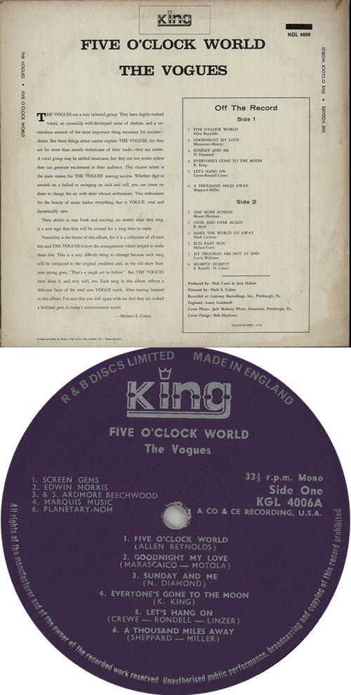 The Vogues Five O'Clock World vinyl LP album (LP record) US VOGLPFI635809