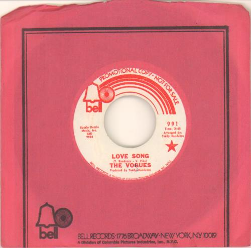 """The Vogues Love Song 7"""" vinyl single (7 inch record) US VOG07LO658737"""