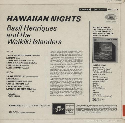 The Waikiki Islanders Hawaiian Nights vinyl LP album (LP record) UK 1L9LPHA758767