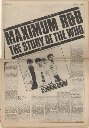The Who 1975 British Tour + Cuttings tour programme UK WHOTRBR340874