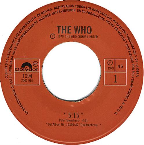 """The Who 5:15 7"""" vinyl single (7 inch record) Mexican WHO07359978"""