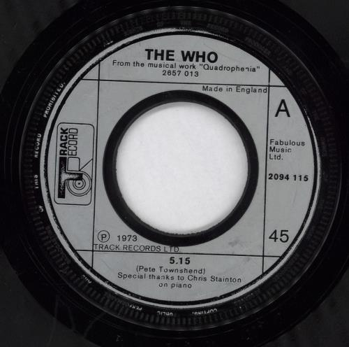 """The Who 5.15 - Five Fifteen - Jukebox 7"""" vinyl single (7 inch record) UK WHO07FI632679"""