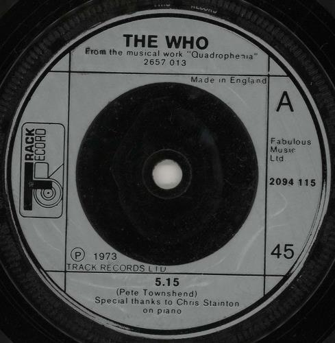 """The Who 5.15 - Five Fifteen 7"""" vinyl single (7 inch record) UK WHO07FI212286"""