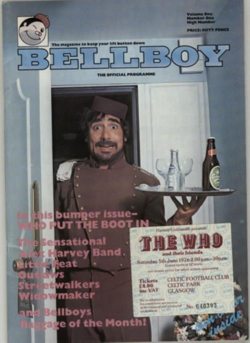 The Who Bellboy + ticket stub tour programme UK WHOTRBE211880