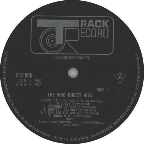 The Who Direct Hits - Mono - EX vinyl LP album (LP record) UK WHOLPDI64669
