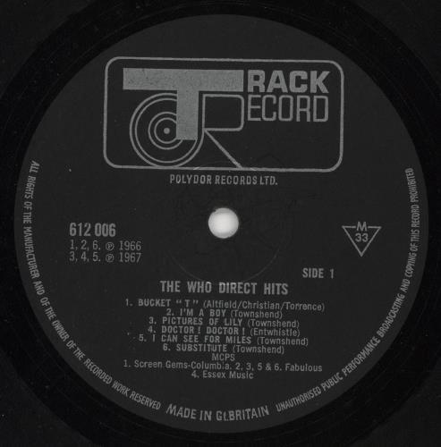 The Who Direct Hits - Mono - EX vinyl LP album (LP record) UK WHOLPDI743527