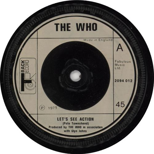 """The Who Let's See Action - Cream Injection 7"""" vinyl single (7 inch record) UK WHO07LE702834"""