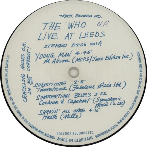 The Who Live At Leeds - Black Text 1st - Complete (wol/woc) vinyl LP album (LP record) UK WHOLPLI686097