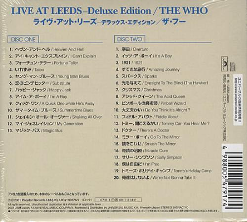 Bat Bus 12 >> The Who Live At Leeds Deluxe Edition Japanese 2 CD album ...
