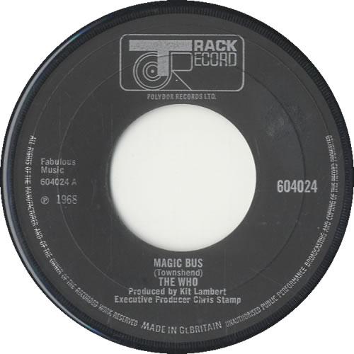 "The Who Magic Bus 7"" vinyl single (7 inch record) UK WHO07MA212288"