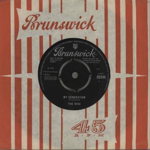 """The Who My Generation - 1st - EX 7"""" vinyl single (7 inch record) UK WHO07MY421049"""