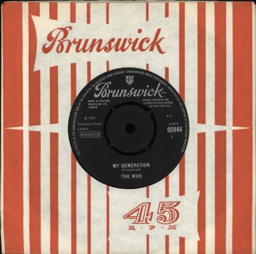 """The Who My Generation - 1st - VG 7"""" vinyl single (7 inch record) UK WHO07MY607425"""