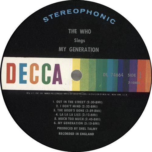 The Who My Generation - 2nd vinyl LP album (LP record) US WHOLPMY715767