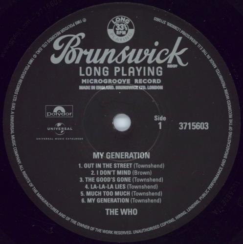 The Who My Generation - Mono - 180g vinyl LP album (LP record) UK WHOLPMY768169