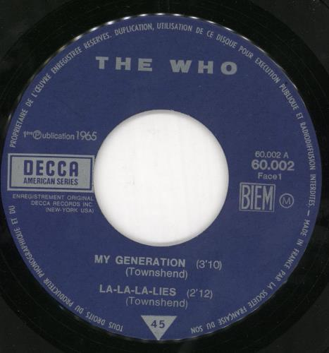 """The Who My Generation - VG 7"""" vinyl single (7 inch record) French WHO07MY723538"""