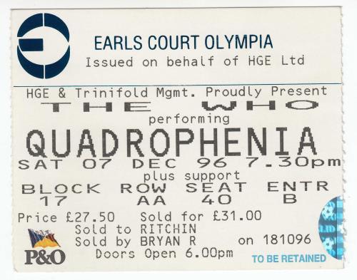 The Who Quadrophenia + Ticket Stub tour programme UK WHOTRQU656214