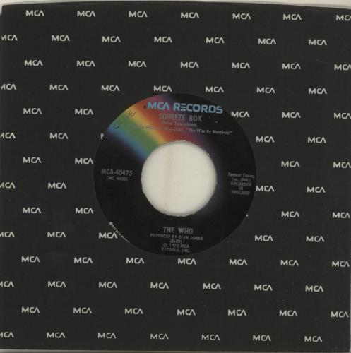 """The Who Squeeze Box 7"""" vinyl single (7 inch record) US WHO07SQ686622"""