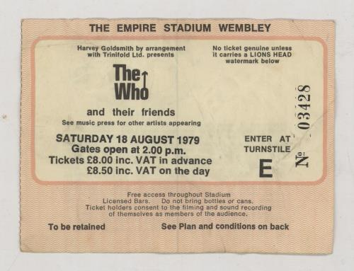 The Who Summer Of '79 + Ticket tour programme UK WHOTRSU369567