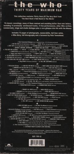The Who Thirty Years Of Maximum R&B - VG box set UK WHOBXTH654386