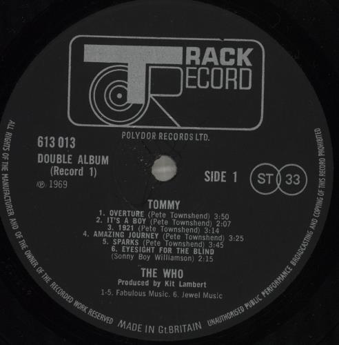 The Who Tommy - 1st - Low Number 2-LP vinyl record set (Double Album) UK WHO2LTO702948