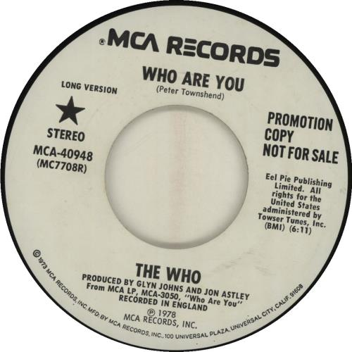 """The Who Who Are You 7"""" vinyl single (7 inch record) US WHO07WH115991"""