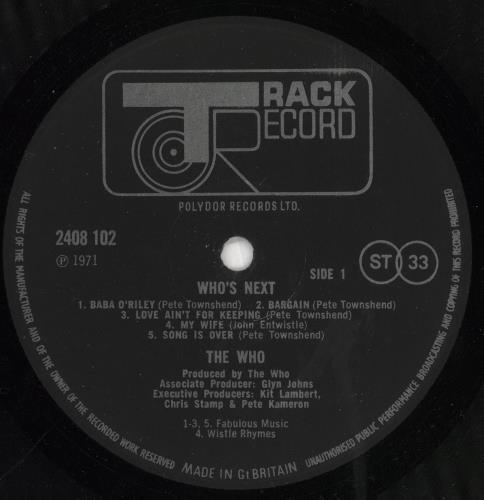 The Who Who's Next - 1st + Inner vinyl LP album (LP record) UK WHOLPWH263168