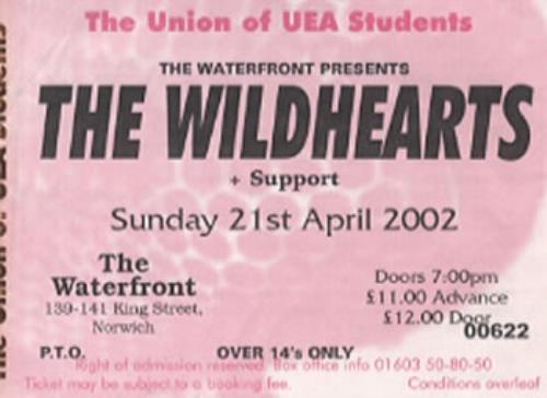 The Wildhearts The Waterfront concert ticket UK WDHTITH345442