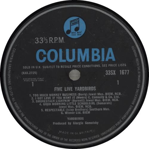 The Yardbirds Five Live Yardbirds - 1st - VG vinyl LP album (LP record) UK YDBLPFI227685